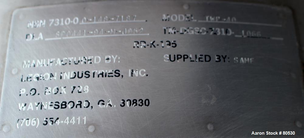 Used- 40 Gallon Stainless Steel Legion Industries Steam Heated Kettle, Model TWP