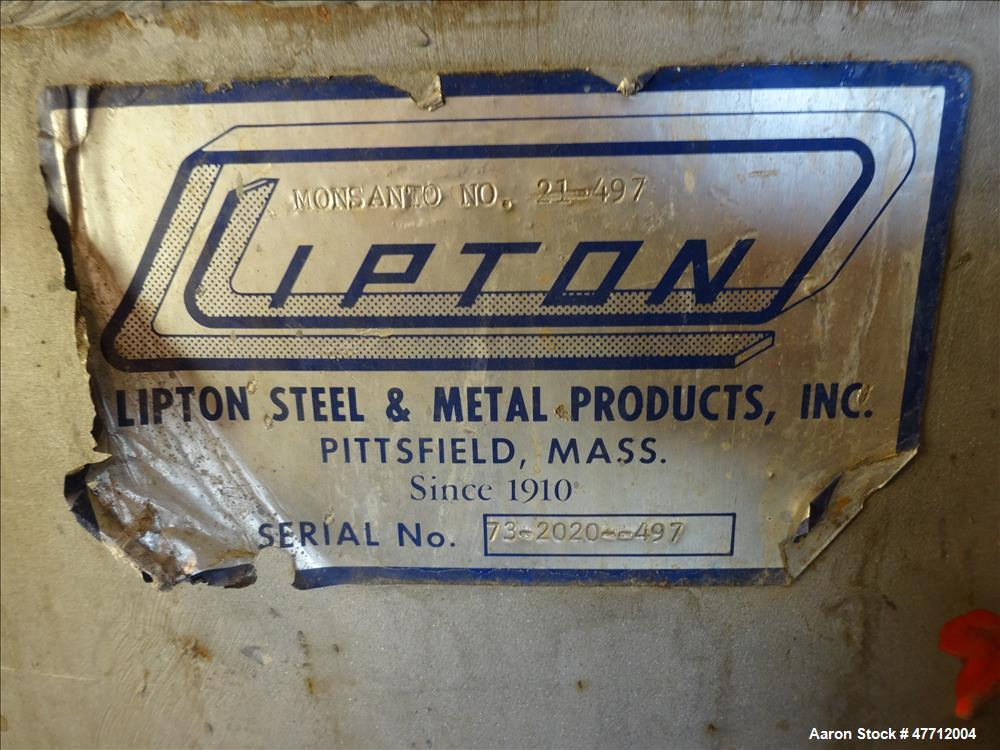 "Used- Lipton Steel & Metal Products Kettle, 600 Gallon, 304 Stainless Steel, Vertical. 60"" Diameter x 44"" straight side, dis..."