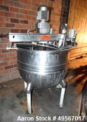 "Used- Acme Coppersmithing Single Motion Kettle, 150 Gallon, Stainless Steel, Vertical. Approximate 42"" diameter x 34"" deep. ..."