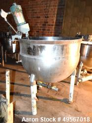 "Used- Groen Kettle, 200 Gallon, Stainless Steel, Vertical. Approximate 48"" diameter x 36"" deep. Open top, no cover. Jacketed..."