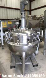 Used- 100 Gallon Hamilton Jacketed Mix Vacuum Kettle, Style PC with Sweep Mixer with Baffle. Internal is Rated 15 psi and va...