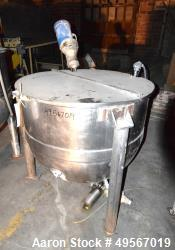 "Used- Lee Metal Products Kettle, 150 Gallon, Stainless Steel, Vertical. Approximate 42"" diameter x 35"" deep. Open top with c..."
