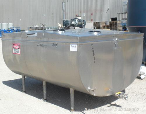 "Used- Mojonnier Jacketed Milk Tank, approximately 450 gallon, 304 stainless steel, horizontal. ""U"" shaped trough 60"" wide x ..."