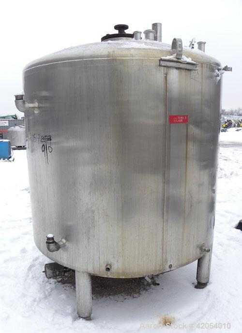 "Used- Mueller Kettle, 750 Gallon, 316 Stainless Steel, Vertical. 60"" diameter x 48"" straight side, dish top and bottom. Dimp..."