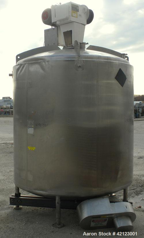 "Used- Mueller Kettle, 2000 Gallon, Model F, 316 stainless steel, vertical. 84"" diameter x 76"" straight side, dished top and ..."