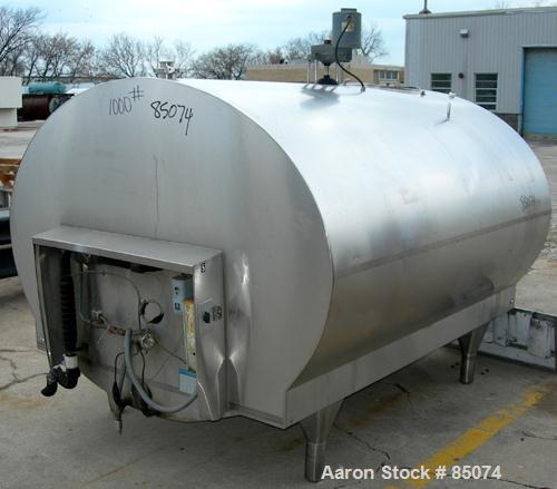 "Used- Mueller Oval Jacketed Milk Tank, 800 Gallon, 304 Stainless Steel, Horizontal. Approximately 66"" wide x 48"" tall x 80"" ..."