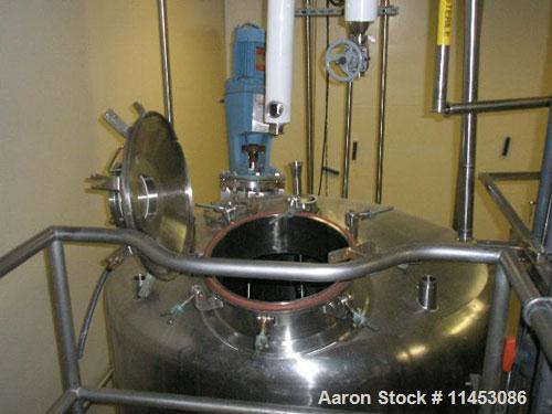 "Used-4000 Liter (1056 gallon) Mueller Kettle. 316 stainless steel construction, 5'6"" diameter x 7' straight side, dish top a..."