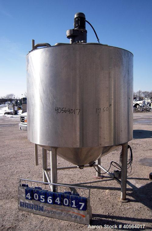 """Used- Kettle, 750 Gallon, 316 Stainless Steel, Vertical. 66"""" diameter x 48"""" straight side, flat top, cone bottom. Dimple jac..."""