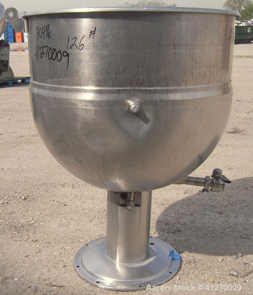 """Used- Pedestal Mounted Kettle, 80 Gallon, 304 stainless steel. 33"""" diameter x 28"""" deep, open top, no cover, jacketed hemi bo..."""