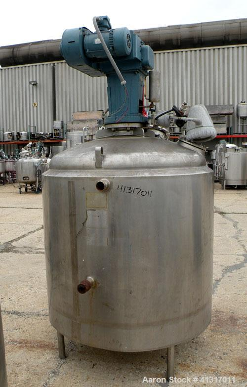 """Used- Kettle, 300 Gallon, 316 Stainless Steel, Vertical. 48"""" diameter x 36"""" straight side, dish top and bottom. Dimple jacke..."""