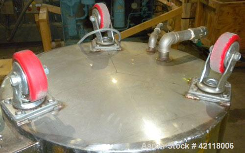 """Used- Kettle, 50 Gallon, 304 Stainless Steel, Vertical. 22"""" diameter x 30"""" straight side, open top with a 1 piece bolt down ..."""
