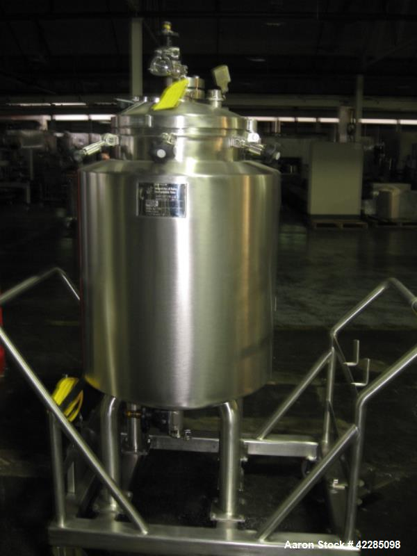 Used- Industries d' Acer Inoxydable Kettle, 50 Gallon. Stainless steel construction, dished top and bottom, jacketed for 50 ...