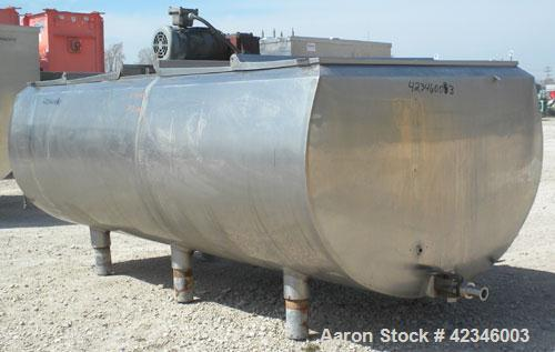 "Used- Jacketed Milk Tank, approximately 500 gallon, 304 stainless steel, horizontal. ""U"" shaped trough 45"" wide x 92"" long x..."