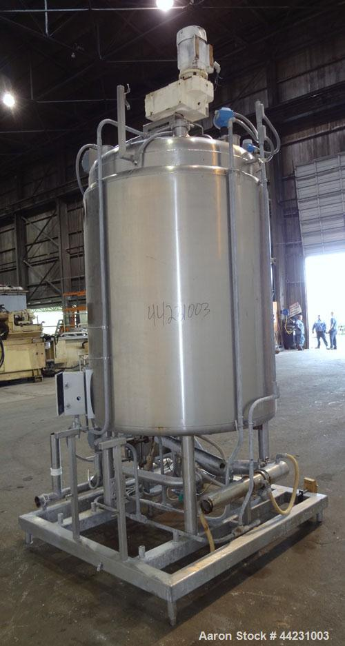 """Used- Avins Fabricating Processor Kettle, 600 Gallon, 316L Stainless Steel, Vertical. 54"""" Diameter x 60"""" straight side, dish..."""