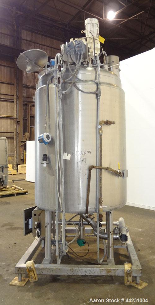"Used- Avins Fabricating Processor Kettle, 600 Gallon, 316L Stainless Steel, Vertical. 54"" Diameter x 60"" straight side, dish..."
