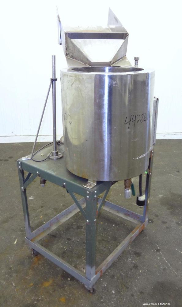 "Used- Electrically Heated Kettle, 10 Gallon, 304 Stainless Steel, vertical. 14"" Diameter x 16"" deep. Open top, no cover, fla..."