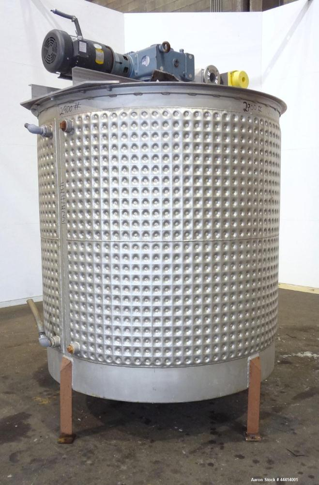 """Used-Kettle, 1250 Gallon, 304 Stainless Steel, Vertical. Approximate 70"""" diameter x 73"""" straight side, flat open top no cove..."""
