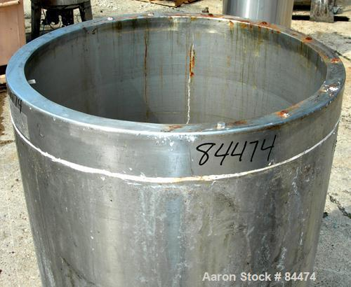 "Used- Kettle, 100 Gallon, 304 Stainless Steel, Vertical. 28"" Diameter x 42"" straight side, open top with cover, dished botto..."