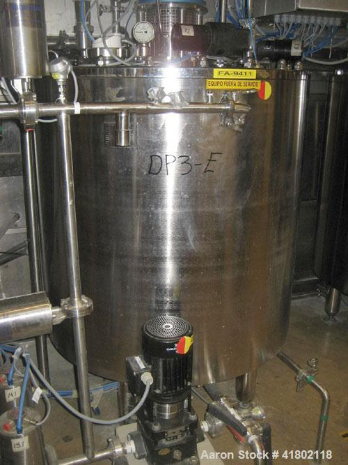 Used- 350 Liter Packo Double Motion Pressure Vessel, rated -1/3.5 bar at 100 C internal, jacketed for -1/3.5 bar at 100 C, w...
