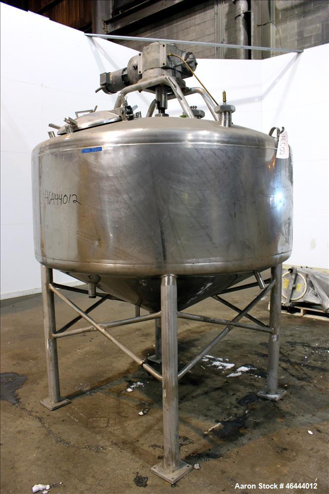 """Used- Mueller Processor Kettle, 500 Gallon, Model PCPC, 316 Stainless Steel, Vertical. 70"""" Diameter x 24"""" straight side, dis..."""