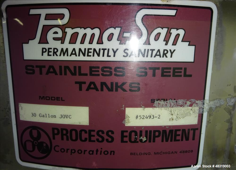 Used- Perm-San Kettle, Model 30 Gallon JOVC, 30 Gallon, 316 Stainless Steel, Ver