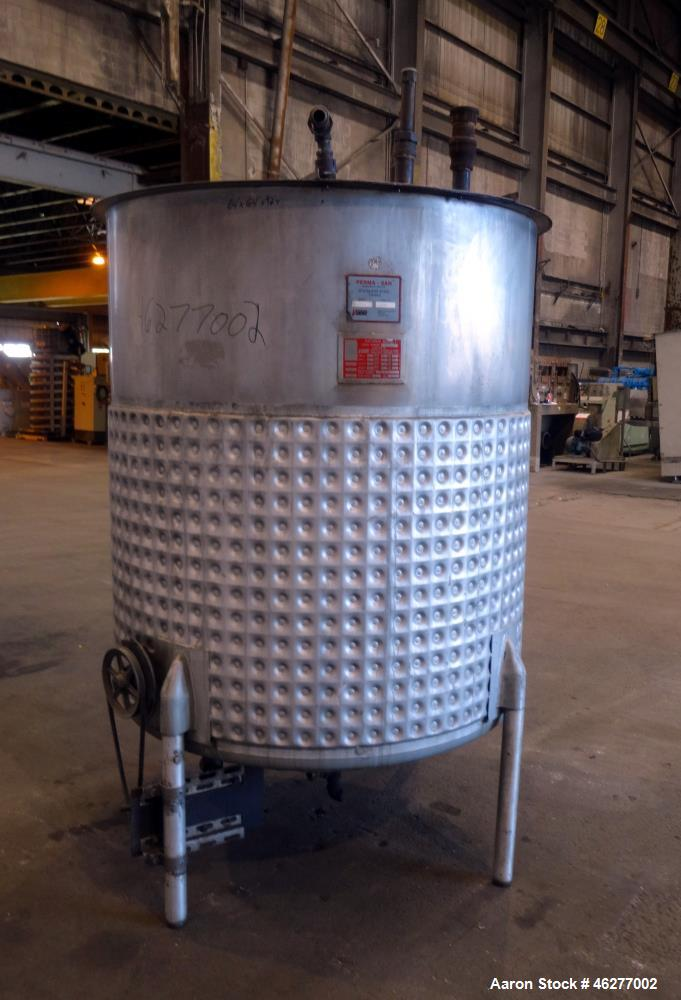 "Used- Viatec Perma-San Kettle, 573 Gallons, Model JOVC, 304 Stainless Steel, Vertical. Approximately 52"" diameter x 58"" stra..."