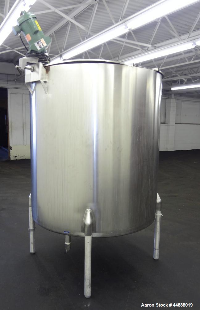"Used- Perma-San Kettle, 525 Gallon, Model JOVS, 316 Stainless Steel, Vertical. Approximate 52"" diameter x 57"" straight side,..."