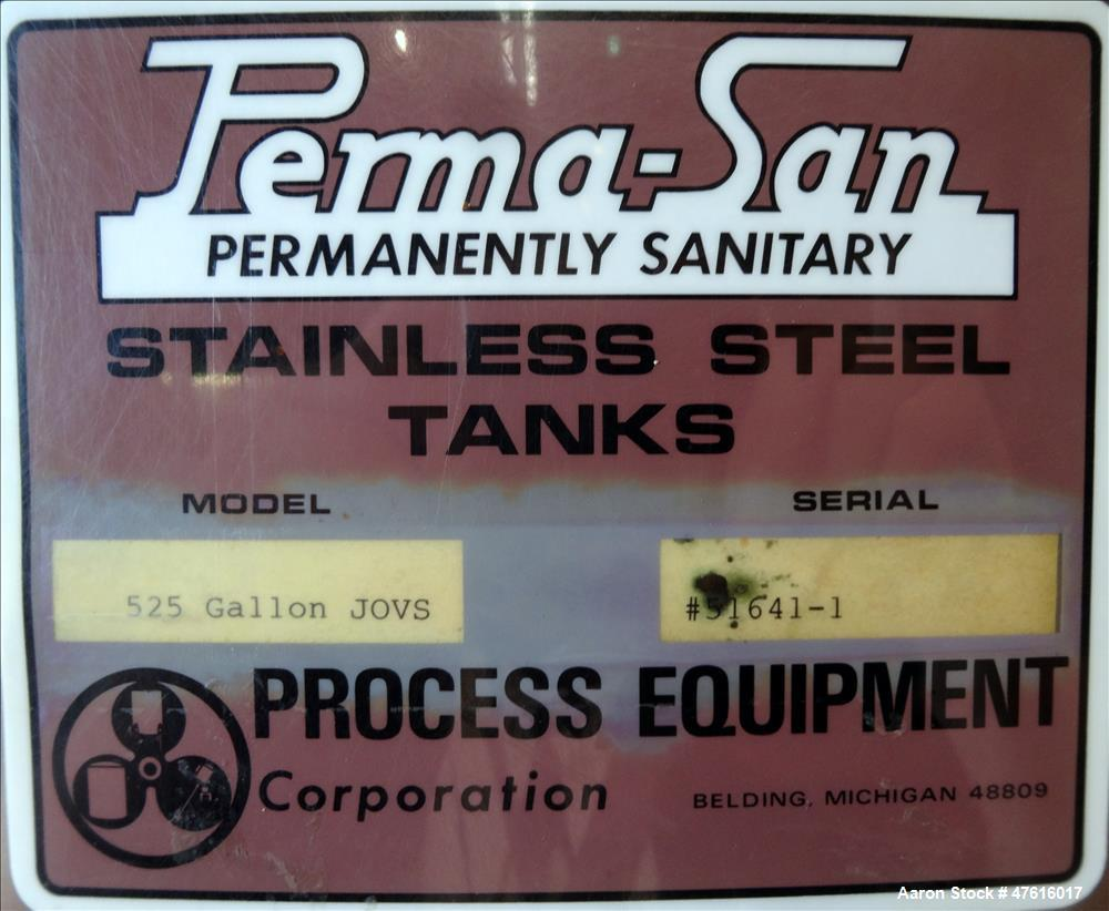 Used- Perma-San Mixing Kettle, 525 Gallon, 316 Stainless Steel, Vertical.