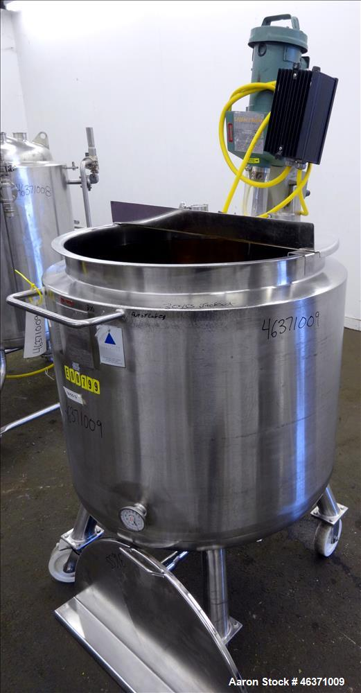 """Used- Precision Stainless Kettle, 300 Liter (79.2 Gallon), 316L Stainless Steel, Vertical. 30"""" Diameter x 26"""" straight side...."""