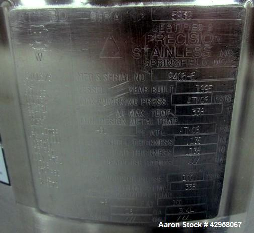 "Used- Precision Stainless Kettle, 30 Liter (7.92 Gallon). 316L Stainless steel construction, 13.5"" diameter x 15"" straight s..."