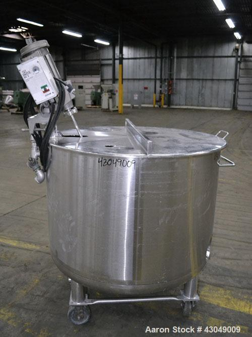 Used- Precision Stainless Kettle, 600 Liter (158 Gallon), 316L Stainless Steel, Vertical. 42'' Diameter x 29'' straight side...