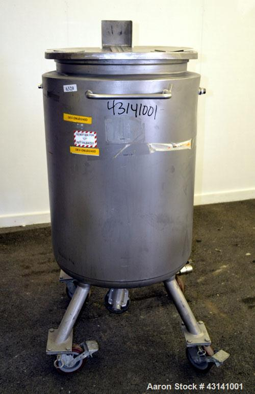 Used- Precision Stainless Kettle, 240 Liter (63.4 Gallon), 316L Stainless Steel, Vertical. 22-3/4 Diameter x 36 straight sid...