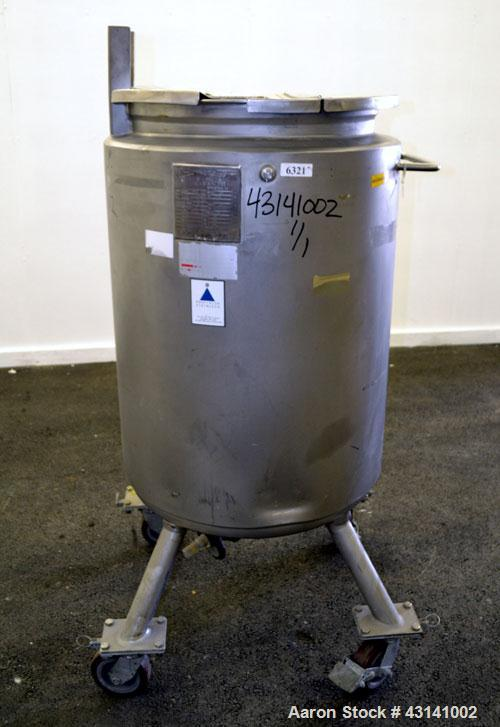 Used- Precision Stainless Kettle, 240 Liter (63.4 Gallon), 316L Stainless Steel, Vertical.  22-3/4 Diameter x 36 straight si...