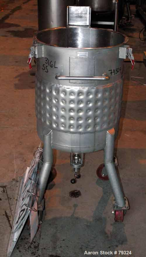 """USED: Precision kettle, 35 gallon, 316L stainless steel, vertical. 20.5"""" diameter x 24"""" straight side, open top, no cover, d..."""