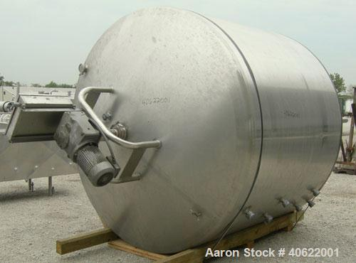 """Used- DCI Processor/Kettle, 2000 gallon, 304 stainless steel, vertical. 95 3/4"""" diameter x approx 66 1/2"""" straight side. Dis..."""