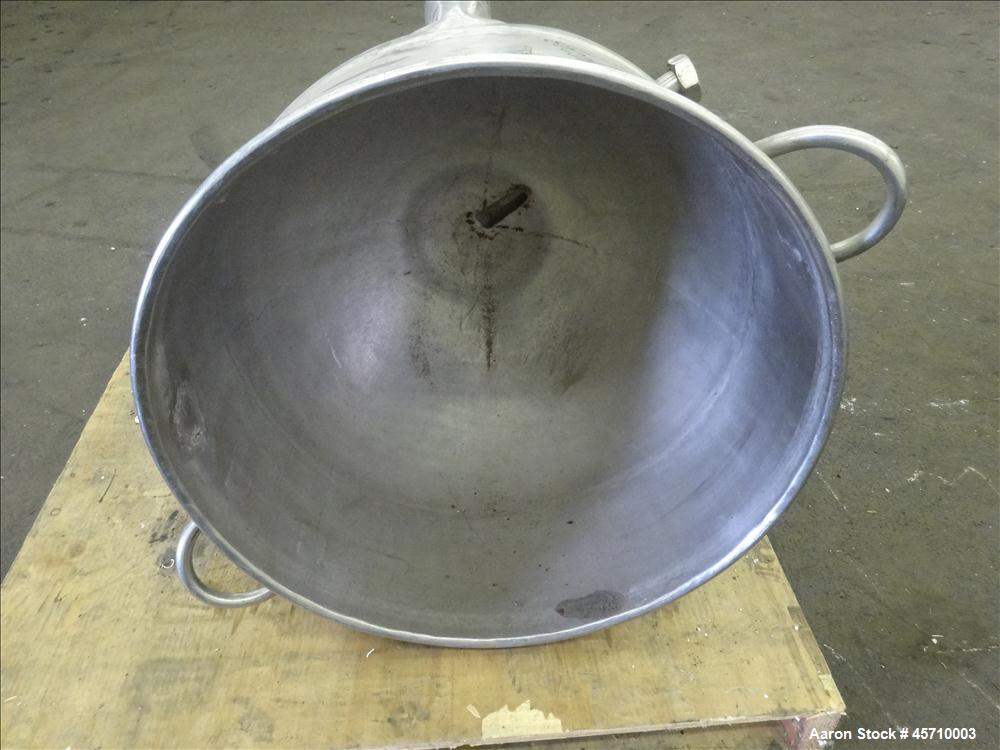"Used- Production Packaging & Processing Kettle, Approximately 30 Gallons, 304 Stainless Steel. 24"" Diameter x 8"" straight si..."