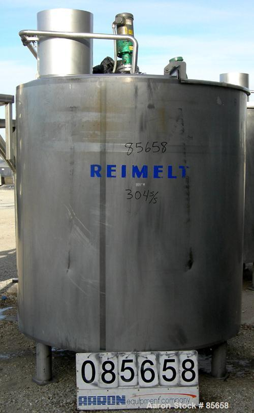 """USED: Reimelt kettle, 900 gallon, 304 stainless steel, vertical. 66"""" diameter x 60"""" straight side, flat top with a 1/3 hinge..."""