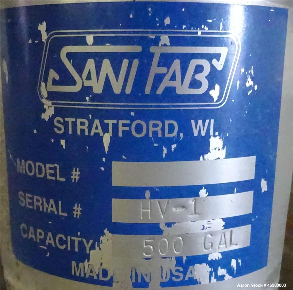 Used- Sani-Fab Kettle, 500 Gallon, 316 Stainless Steel, Vertical.