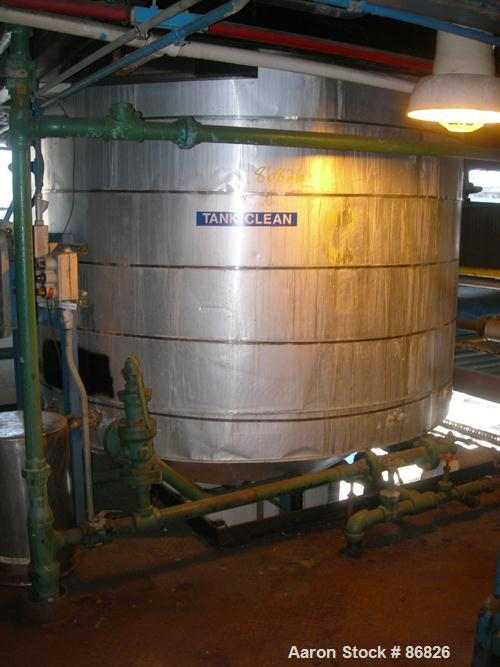 "USED: Synalloy Corp kettle, 3000 gallon, stainless steel, vertical. Approximate 96"" diameter x 96"" straight side, flat top, ..."