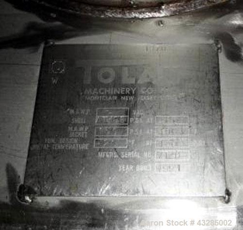 """Used- Tolan Kettle, 7500 Gallon, 304 Stainless Steel, Vertical. Approximately 114"""" diameter x 168"""" straight side. Flat top, ..."""