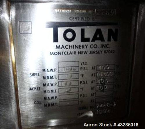 """Used- Tolan Kettle, 5000 Gallon, 316L Stainless Steel. 102"""" Diameter x 132"""" straight side, dish top and bottom.  Atmospheric..."""