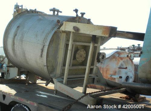 "Used- Tranter Kettle, 850 Gallon, 304 stainless steel, vertical. 60"" diameter x 72"" straight side, flat bolt on top, sloped ..."