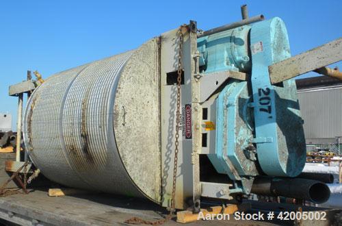 "Used- Tranter Kettle, 1200 Gallon, 304 stainless steel, vertical. 66"" diameter x 84"" straight side, flat bolt on top, sloped..."
