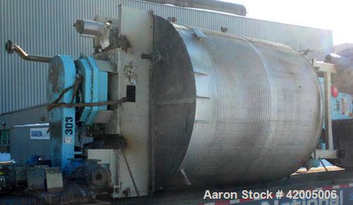 "Used- Tranter Kettle, 3000 Gallon, 304 Stainless Steel, Vertical. 96"" diameter x 107"" straight side, flat bolt on top, slope..."