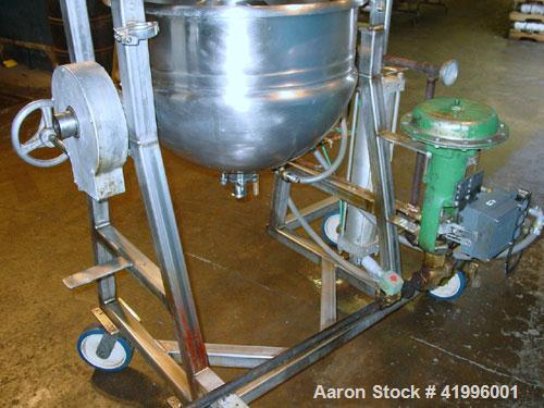 Used- Trinity Industries Double Motion Kettle, 30 Gallon, Model CW, Stainless Steel. Open top, jacketed hemispherical bottom...