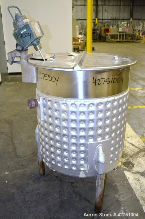 """Used- Viatec Kettle, 105 Gallon, 316 Stainless Steel, Vertical. 30"""" Diameter x 34"""" straight side. Open top with a 1/2 hinged..."""