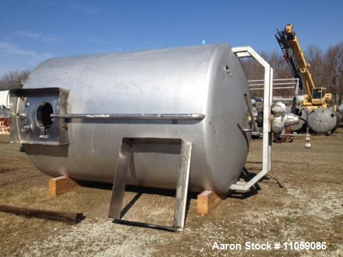 "Used- Walker 5000 Gallon Sanitary Jacketed Mix Tank/Silo. Sweep mixer driven by hydraulic drive. 8' 6"" ID x 12' T/T. Dish to..."