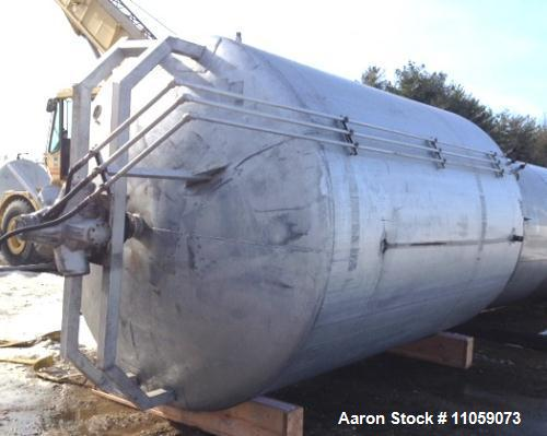 "Used- Walker 5000 Gallon Sanitary Jacketed Mix Tank/Silo. Sweep mixer driven by Hydraulic Drive. 8'6"" ID x 12' T/T. Dish top..."
