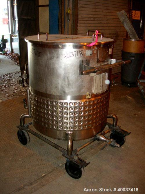 "Used- Walker Kettle, 145 gallon, 304L stainless steel, vertical. 34"" diameter x 36"" straight side, open top with a 1/3 cover..."