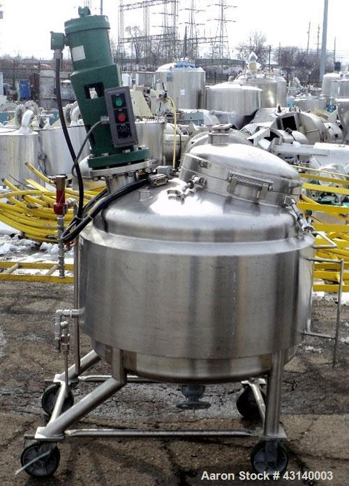 "Used- Walker Reactor, 500 Liter (132 Gallon), 316L Stainless Steel. 34"" Diameter x 24"" straight side, dish top and bottom. I..."